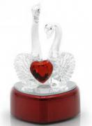 Лебеди с сердечком хрустальные с подсветкой