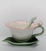 """Чайная пара с ложечкой """"Гвоздика"""""""