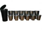 Дорожный набор рюмок и стаканов в кожаном чехле