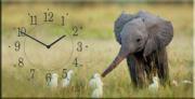 """Настенные часы на холсте """" Слоненок """""""