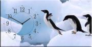 """Настенные часы на холсте """" Полет пингвина """""""
