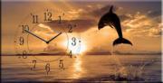 """Настенные часы на холсте """" Полет дельфина """""""